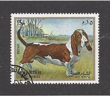 Dog Art Full Body Study Portrait Postage Stamp Basset Hound Sharjah Arabia Cto