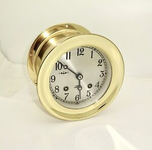 """VINTAGE 1991 CHELSEA BRASS CASED SHIPS BELL CLOCK,VERY CLEAN,RUNS,NICE,4.5"""" DIAL"""