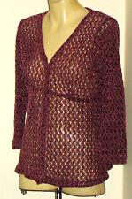 PINEAPPLE PinkOpenCrochet60%CottonMix3/4Slvd Size16