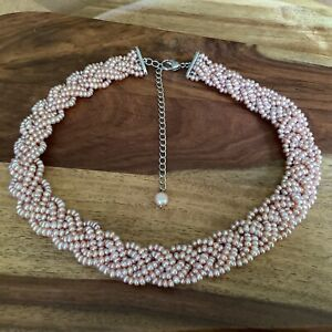 Honora Sterling Silver Braided Pink Cultured Freshwater Pearl Necklace