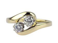 Damen 585 Gelb Gold 0,35 ct Diamant Brillant zweier Stein Ring
