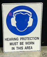 """Safety Sign Metal """"Hearing Protection Must Be Worn In This Area"""" Size 600x450mm"""