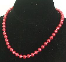 """7-8MM Dark Red South Sea Shell Pearl Necklace 18"""" NEW (in silk gift bag)"""
