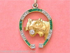 ANTIQUE ART DECO DIAMOND EMERALD HORSE HORSESHOE LION CAT PENDANT 1930