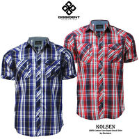 Mens Shirt Dissident Designer Short Sleeve 100% Cotton Check S, M, L, XL & XXL