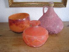 3 vecchia mano lavorate vasi/brocche da Orange-rötlichem vetro