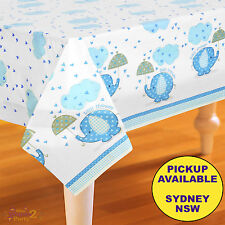 BLUE ELEPHANT UMBRELLA BOY BABY SHOWER PARTY SUPPLIES TABLECLOTH TABLE COVER