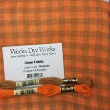 Weeks Dye Works hand dyed gingham linen Pumpkin halloween fall x stitching craft