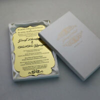 Free customized printed favors Luxury gold Acrylic Wedding Invitation cards Box