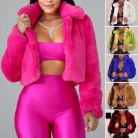 Women Winter Warm Fluffy Crop Short Cardigan Coat Jacket Outwear Loose Sweater