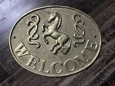 Gorgeous Vintage Brass Unicorn Welcome Sign 8.5 X 6 Home Decor