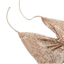 Woman's Backless Halter Bib Metal Bra Body Chain Mesh Beach Bikini Jewelry Hot
