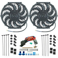 """DUAL 12"""" INCH ELECTRIC RADIATOR COOLING FANS FIN PROBE FAN THERMOSTAT SWITCH KIT"""