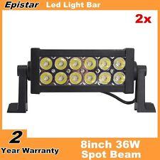 """2X 8"""" inch 36W LED Work Light Bar Spot lights For Boat Jeep SUV 4X4 4WD 12V24V"""