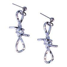 Pewter Silver Handmade Diamond Cut Jewelry Barbed Wire Earrings
