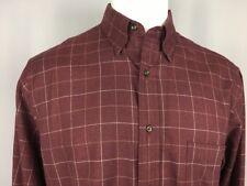 St. John's Bay Button-Down Maroon LS Shirt 100% Cotton Windowpane M $36 NEW NWT