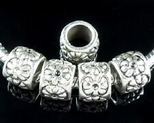30pcs Tibetan Silver Flower Charm Beads Big Hole Fit European Bracelet ZN138