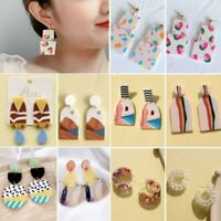 Fashion Contrast Acrylic Earrings Stud Colorful Round Dangle Women Summer Gift
