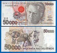 Brazil P-237 50 Cruzeiros/ 50,000 Cruzeiros Year ND 1993 Unc.
