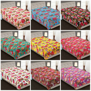 Indien Baumwolle Bettüberwurf Bettdecke Ethnisch Tropisch Twin Tagesdecke Kantha