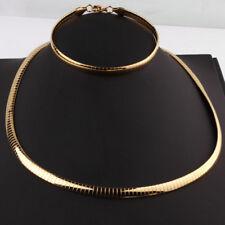 Hot Nice Womens Jewelry Gold Stainless Steel Choker Flat Necklace Bracelet Set