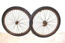 "1940 Prewar Hawthorne Bicycle * HUBS RIM WHEEL SET * 26"" Balloon Tire Bike Part"