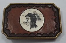 BTS SOLID BRASS & LEATHER SCRIMSHAW BELT BUCKLE- MADE IN THE USA  (T1053)