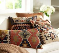 Vintage Jute Cushion Cover Indian Jute Cushions Handmade Kilim Rug Pillows 10 pc