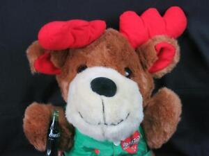 BIG COCA-COLA CHRISTMAS REINDEER GREEN VEST PLASTIC BOTTLE PLUSH STUFFED ANIMAL