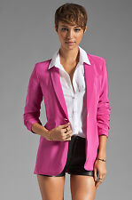 NWT Elizabeth & James Ruched Sleeve Crepe Heather Blazer in Fuchsia Pink 6 $495