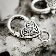 10pcs Lobster Claw Clasp Finding Antique Silver DIY Heart 26x14x6mm IW