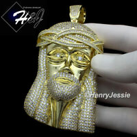 MEN 14K GOLD FINISH LAB DIAMOND BLING OVERSIZE GOLD JESUS FACE PENDANT*BGP2