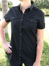 Jeep Earth Youth Black Button Up Double Pocket Top Size Small