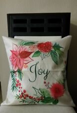 """Beautiful Holiday Joy Wreath Flowers Berries Linen Throw Pillow Cover 18"""" US"""