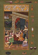 Mogul Miniature Painting Handmade Indo Islamic Script Paper Ethnic Moghul Art