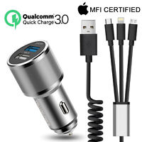 Aluminum Qi 2-Port USB Car Charger Data Charging Cord For iPhone XS Max XR X 8 7