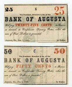 (Pair) 1863 25c & 50c The Bank of Augusta, GEORGIA Notes - CIVIL WAR Era AU