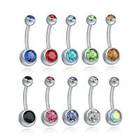 1pcs Silver Crystal Rhinestone Belly Button Ring Navel Bar Body Piercing Jewelry