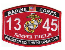 MARINE CORPS 1345 COMBAT ENGINEER EQUIPMENT OPERATOR MOS SEMPER FIDELIS PATCH