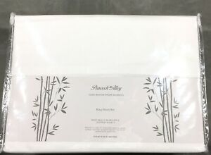 Solid White KING 100% BAMBOO Substantial Sheet Set PEACOCK ALLEY Silky Soft New