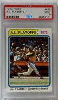 1974 Topps A.L. Playoff #470 Reggie Jackson PSA Mint 9 Oakland Athletics