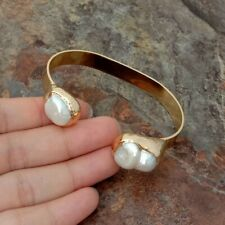 4 K Gold Plated natural White Keshi Pearl 2 Bangle Bracelet