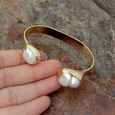 Keshi Pearl 2 Bangle Bracelet 4 K Gold Plated natural White