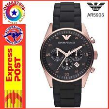 NEW Emporio Armani AR5905 Mens Black Rose Gold Designer Chronograph Watch