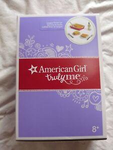 New in Box American Girl Lasagna Dinner Set Plates Silverware Bread Oil Plates
