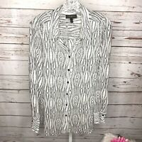 Lane Bryant Womens Semi Sheer Feathers Top Blouse Size 18/20 Black/White
