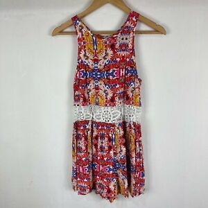 Minkpink Womens Playsuit Size S Small Multicoloured Floral Sleeveless Zip 226.28