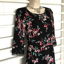 Dorothy Perkins Dress Black, Pink Floral Size 10 3/4 Sleeve, Pretty Lace Detail