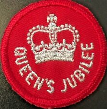 """Canadian Forces Queens Jubilee Insignia - Silver Bullion on Red - 1 3/14"""" #4969"""