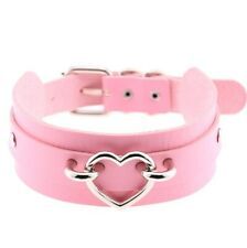 Heart Collar Pink Leather Choker Necklace Goth Punk Rock Sexy BDSM